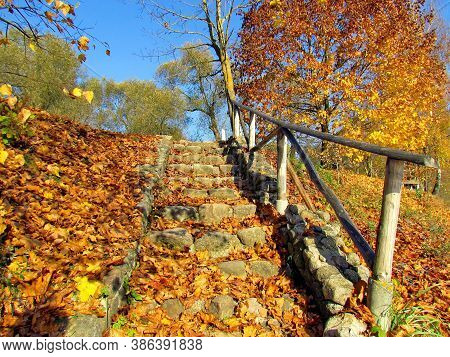 An Old, Stone Staircase, Strewn With Fallen Yellow Leaves, With A Wooden Railing, In The Estate Of T