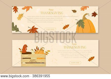 Flat Design Banners Template Happy Thanksgiving Day. Vector Illustration. Autumn Mood.