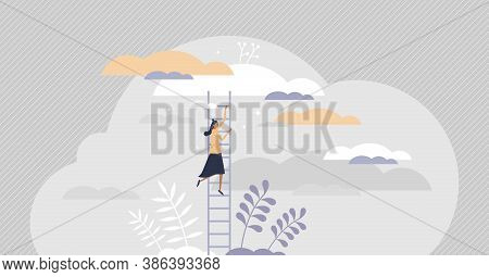 Growth Ladder With Stair Steps As Development Progress Tiny Persons Concept. Business And Career Ris