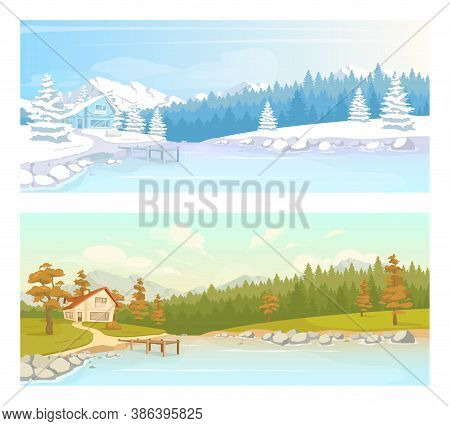 Seasonal Countryside Scenery Flat Color Vector Illustration Set. Autumn Scenery Near Lake. Cottage I