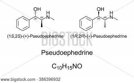 Pseudoephedrine, Chemical Structure. A Decongestant And Stimulant. Illicitly Used By Athletes And Tr