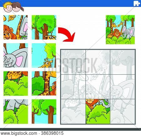 Cartoon Illustration Of Educational Jigsaw Puzzle Game For Children With Funny Wild Animal Character