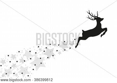 Jumping Deer With Stardust Christmas Design Vector Illustration Eps10