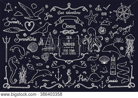 Sea Life, Ocean Trip, Summer Marine Cruise, Summertime Doodles, Lettering. Big Collection Of Hand Dr