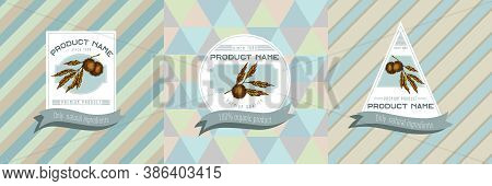 Three Colored Labels With Illustration Of Chestnut Stock Illustration