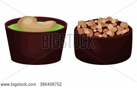 Assorted Chocolate Sweets Or Chocolate Praline With Filling Vector Set