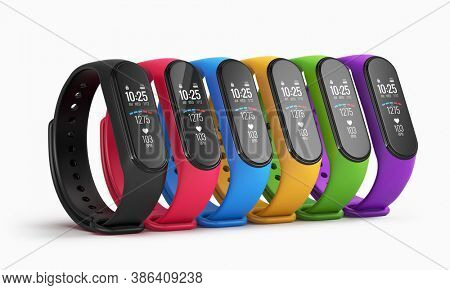 Abstract colorful fitness watches, sport bracelet, fitness band or fitness activity tracker isolated on white background - 3d rendering