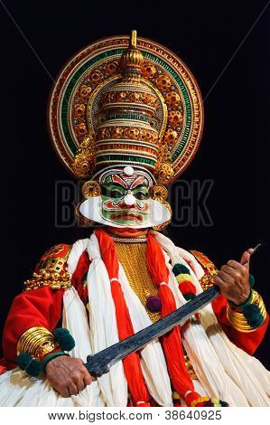 CHENNAI, INDIA - SEPTEMBER 9: Indian traditional dance drama Kathakali preformance on September 9, 2009 in Chennai, India. Performer plays Ravana (kathi) character in Ramayana drama