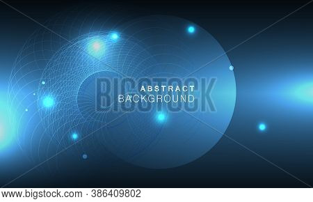 Abstract Space Background In Abstract Style On Deep Dark Background. Modern Geometric Background. Bl