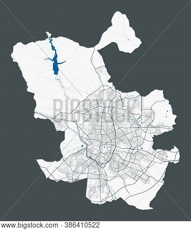 Madrid Map. Detailed Map Of Madrid City Administrative Area. Cityscape Panorama. Royalty Free Vector