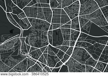 Urban City Map Of Madrid. Vector Illustration, Madrid Map Grayscale Art Poster. Street Map Image Wit