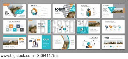 Presentation Slide Layout Background.  Blue And Orange Design Brochure Template. Use In Presentation