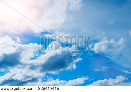 Dramatic blue sky background, vast sky landscape panoramic view, sky background with white clouds. Sky landscape, colorful sky view. Sky sunset background