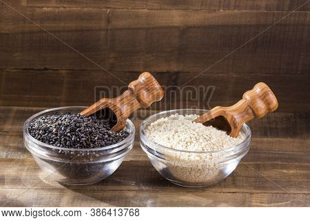 White Sesame And Black Sesame Seed - Sesamum Indicum. Top View