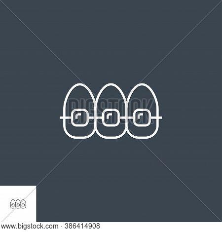 Braces Line Icon.braces Braces Line Related Vector Icon. Isolated On Black Background. Editable Stro