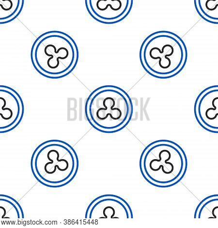 Line Cryptocurrency Coin Ripple Xrp Icon Isolated Seamless Pattern On White Background. Altcoin Symb