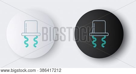 Line Orthodox Jewish Hat With Sidelocks Icon Isolated On Grey Background. Jewish Men In The Traditio