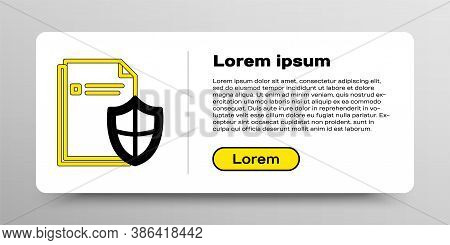 Line Document Protection Concept Icon Isolated On White Background. Confidential Information And Pri
