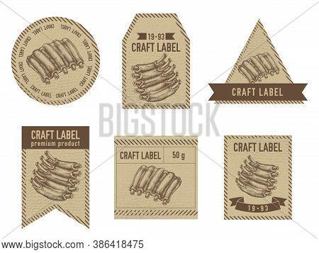 Craft Labels Vintage Design With Illustration Of Pork Ribs Stock Illustration