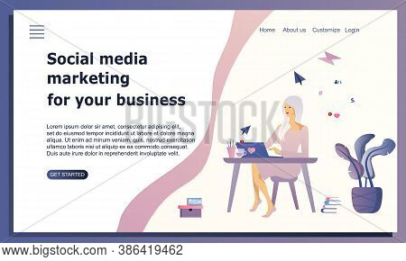Smm Website Concept. Woman Sitting At Desk And Working With Laptop . Social Media Marketing For Your