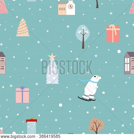 Vector Seamless Cartoon Cute Ornaments On Blue Pastel Colour, Kawaii Pattern With Christmas Decorati