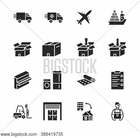 Transport Company Flat Glyph Icon Set. Vector Illustration Moving Company. Transportation Of Cargo.