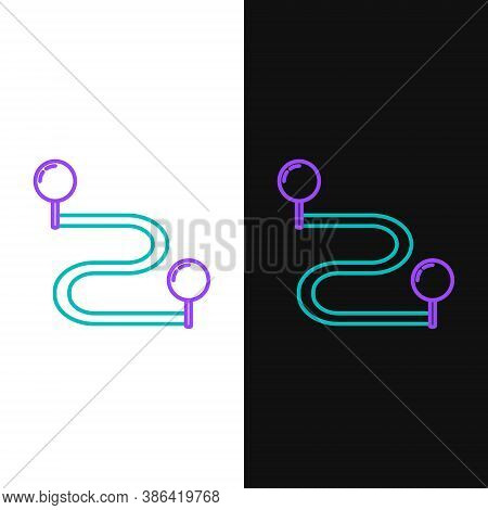 Line Route Location Icon Isolated On White And Black Background. Map Pointer Sign. Concept Of Path O