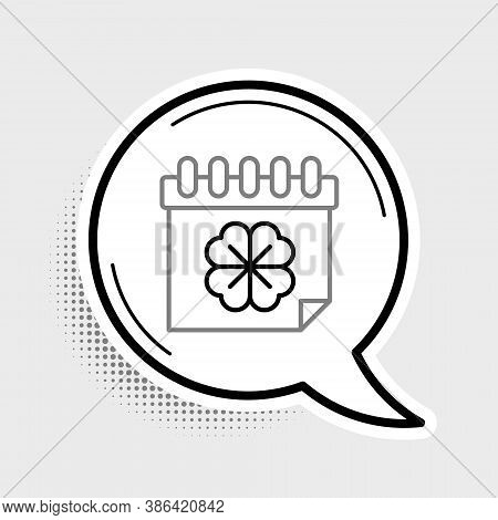 Line Saint Patricks Day With Calendar Icon Isolated On Grey Background. Four Leaf Clover Symbol. Dat