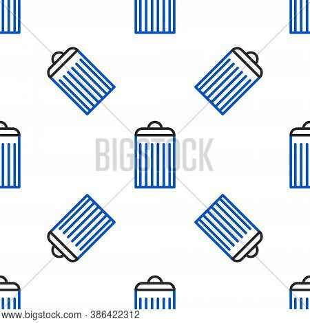 Line Trash Can Icon Isolated Seamless Pattern On White Background. Garbage Bin Sign. Recycle Basket