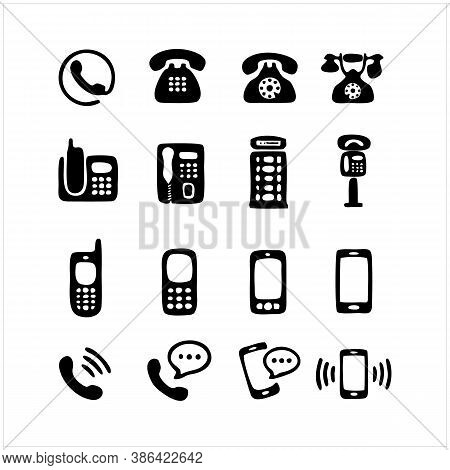 Phone Icons Collection. Isolated Mobile And Cellphone Symbols. Retro Phone And Modern Smartphone Ico