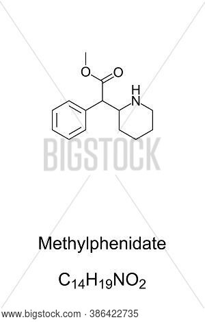 Methylphenidate, Mp, Chemical Structure. Stimulant And Medication, Used In The Treatment Of Adhd And