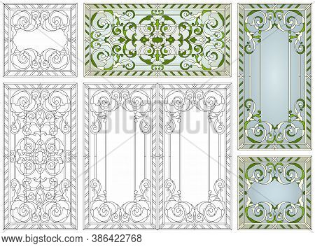 Stained Glass Set. Abstract Geometric Floral Pattern In A Rectangular And Square Frame / Colorful St