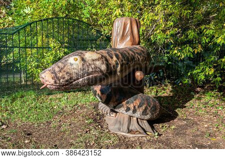 Russia, Moscow - September 29, 2018: Huge Snake Monster Prehistoric Life Size Model