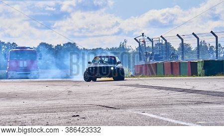 Russia Ryazan International Track Atron September 2020. A Sports Car In A Controlled Skid On The Tra
