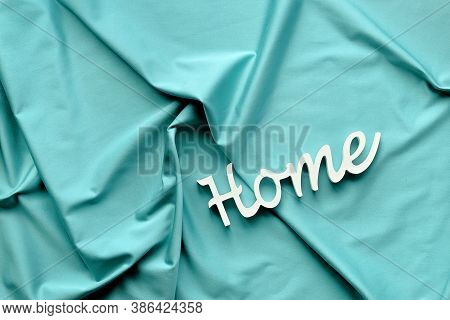 Ai Aqua - Trendy Color Of The Year 2021. Trendy Top View, Word Home On Mint Blue Textile.