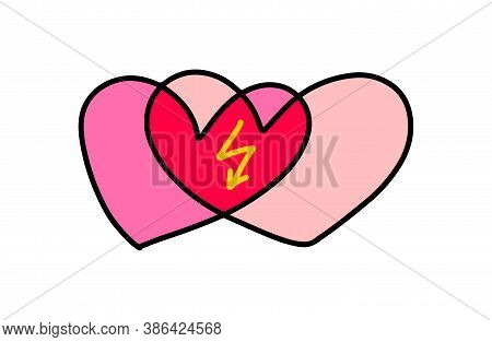 Two Hearts Merger Hand Drawn Vector Illustration In Cartoon Doodle Style