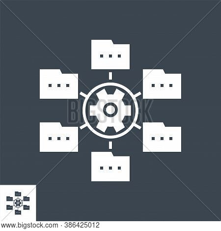 Data Menagement Related Vector Glyph Icon. Isolated On Black Background. Vector Illustration.