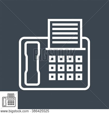 Fax Thin Line Vector Icon Isolated On The Black Background.