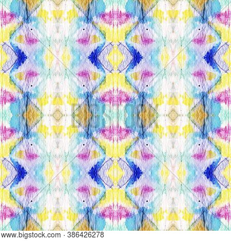 Tie Dye Background. Red, Green, Blue And Pink Textile Print. Rainbow Natural Ethnic Illustration. Tr