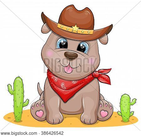 Cute Cartoon Cowboy Puppy. Western Vector Illustration Of Animal In The Cowboy Hat And Scarf Isolate