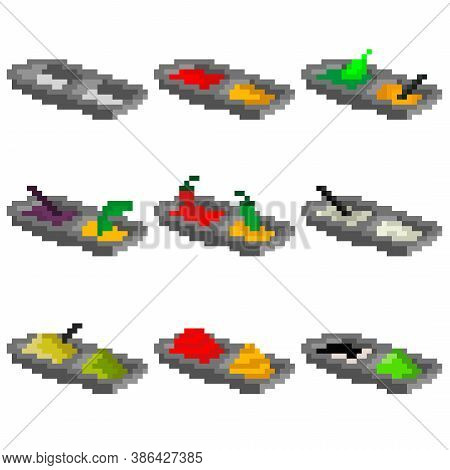 A Set Of Nine Food Items Made Up Of Pixels. Various Sauces Such As Soy, Mayonnaise, Sour Cream, Must