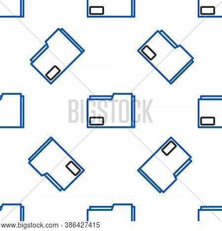 Line Document Folder Icon Isolated Seamless Pattern On White Background. Accounting Binder Symbol. B