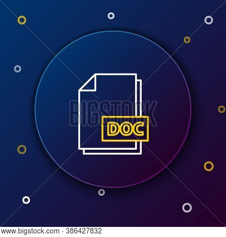 Line Doc File Document. Download Doc Button Icon Isolated On Blue Background. Doc File Extension Sym