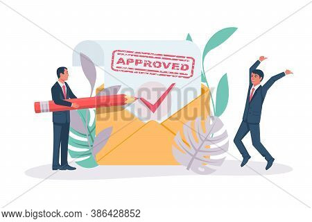 Happy Businessman Rejoices At A Positive Response. Letter With Message Approved. Landing Page Green