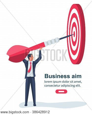 Landing Page Achievement Goal. Businessman Directs The Arrow To The Target. Aim In Business Concept.