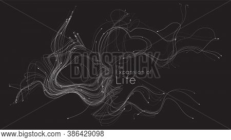 Expansion Of Life. Vector Neuron Growth. Small Particles Strive Out Of Center Randomly. Organic Grow