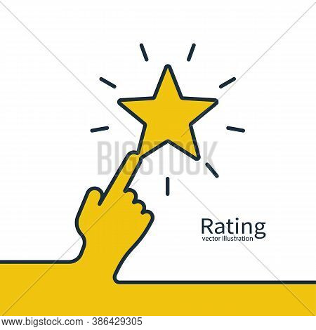 Star Rating Minimal Design Black Line. 5 Star Rate Icon. Hand Presses A Rating Star. Feedback Concep