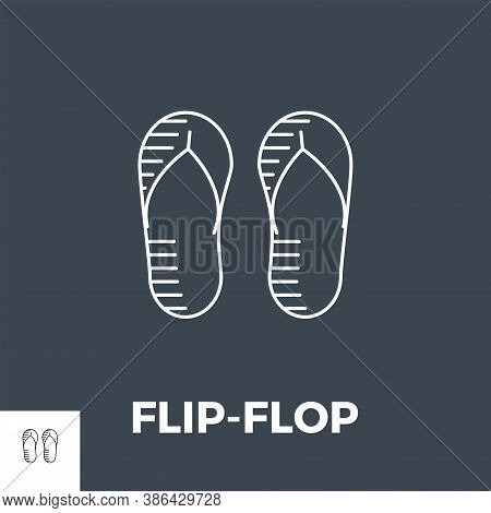 Flip-flop Line Related Vector Icon. Isolated On Black Background.