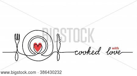 Plate, Fork, Knife, Heart Minimalist Vector Web Banner, Background. One Continuous Line Drawing With