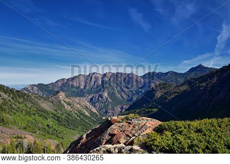 Lake Blanche Hiking Trail Panorama Views. Wasatch Front Rocky Mountains, Twin Peaks Wilderness,  Was